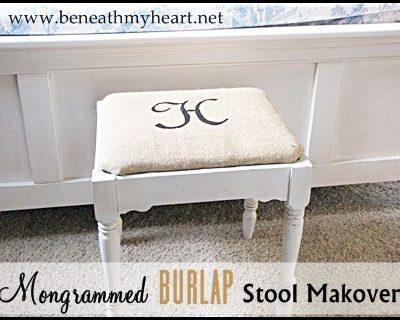 Monogrammed Burlap Stool