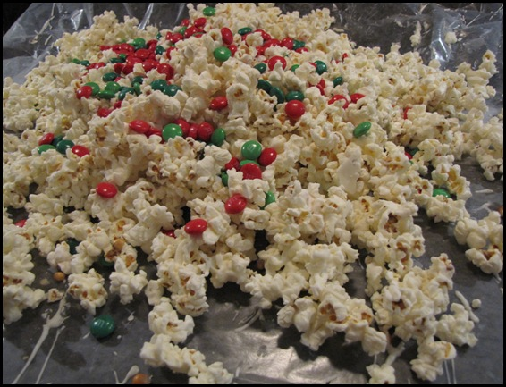 White Chocolate Popcorn with M&M's