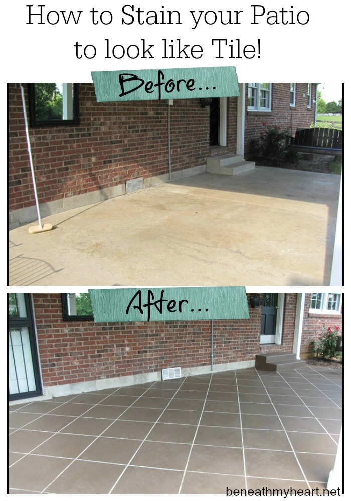 How to stain your patio to look like tile
