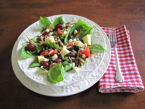 spinach salad, honey balsamic vinaigrette
