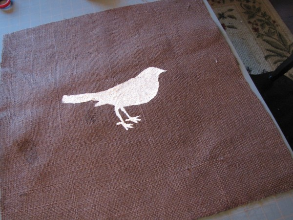 brown burlap bird pillow