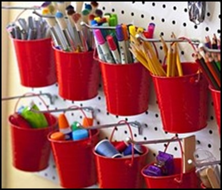buckets,craft,room,crafts,office,organization,organize,pencils,pens,red,studio,thread,wall-d0d5cf7934a0404d736f5325102d948e_m
