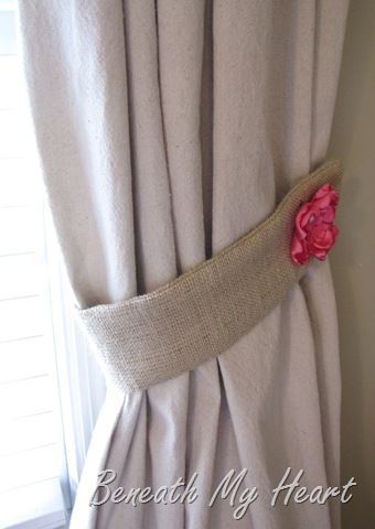 Burlap Tiebacks with Interchangeable Flowers