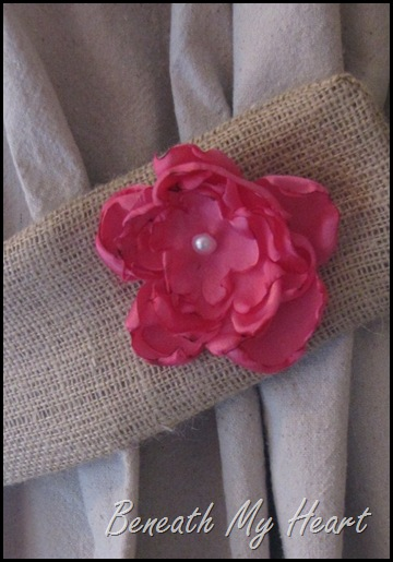 burlap curtain tie back with fabric flower