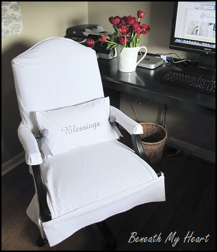 a slipcover for my office chair - beneath my heart