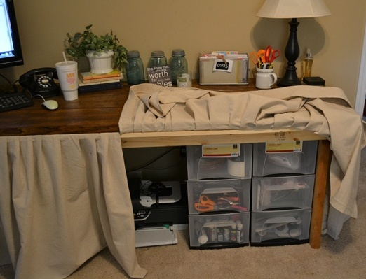 Drop Cloth Skirted Wood Desk A Creative Storage Solution