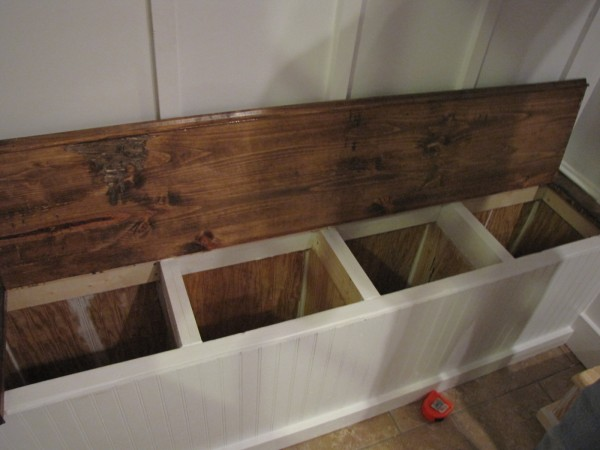 built in storage bench diy