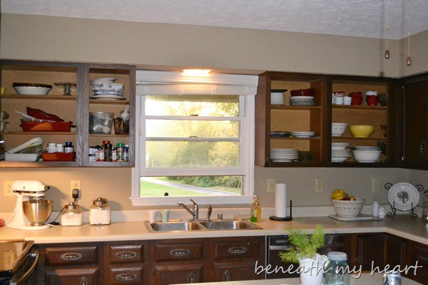 Then I Thought It Would Look Better With No Cabinets, Only Café Shelving.  So I Took The Cabinets Down.