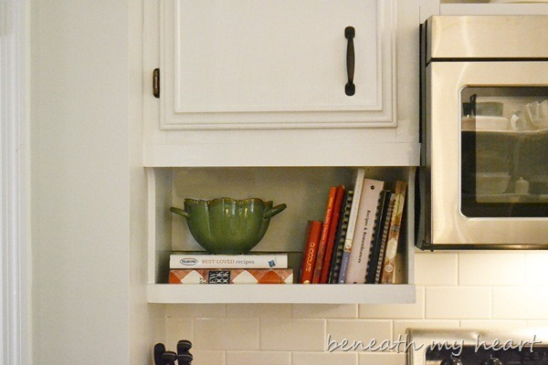 Our diy under the cabinet cook book holder beneath my heart Diy under counter storage
