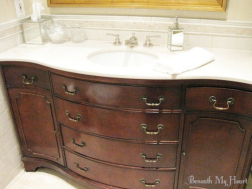 masterbath turning a dresser into a vanity beneath my