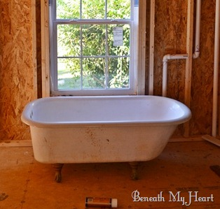 how to refinish an antique claw foot tub check out my new tub beneath my heart. Black Bedroom Furniture Sets. Home Design Ideas