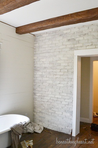 How To White Wash Brick Bathroom Update Beneath My Heart