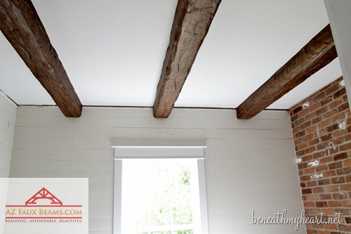 Installing Faux Wood Beams {in Our Master Bathroom ...