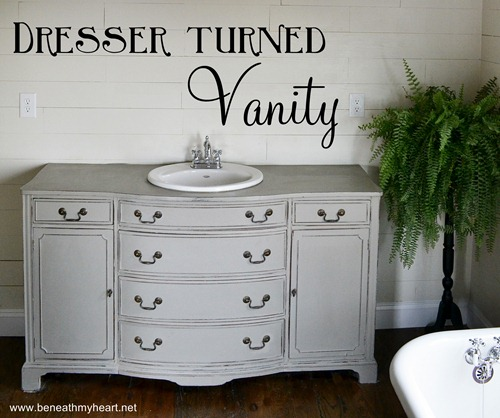 How to turn a dresser into a vanity.