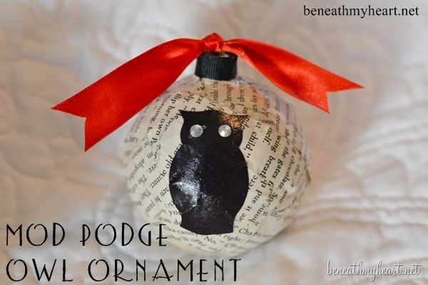 mod podge owl ornament