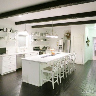 Kitchen Makeover {with wood beams}