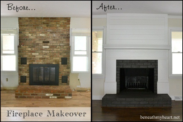 How to build a fireplace surround beneath my heart - How to make a brick fireplace look modern ...