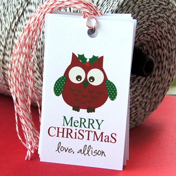 owl Christmas gift tags
