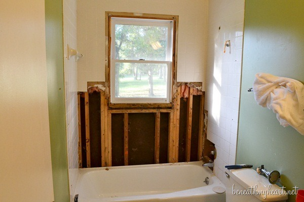 Gutting Our Guest Bathroom Beneath My Heart - Gutting a bathroom
