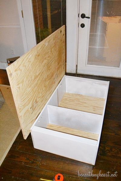 bookcase turned yard stick coffee table {diy wayfair challenge