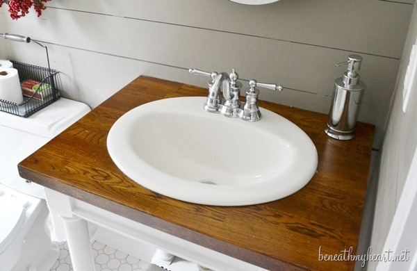 butcher block bathroom sink diy butcher block vanity beneath my 17564