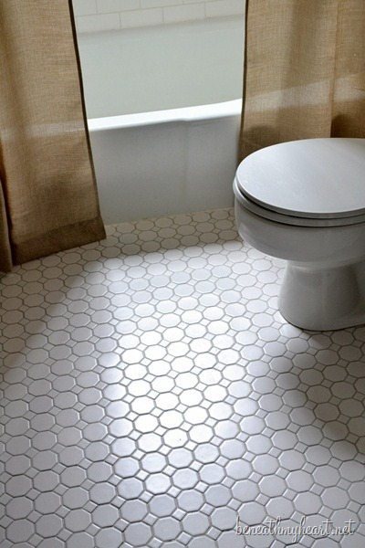 white octagonal tile flooring