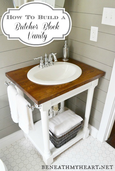 diy butcher block vanity  beneath my heart, Bathroom decor