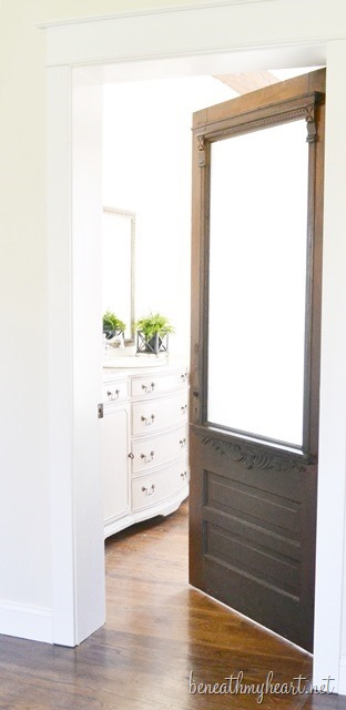 master bathroom antique door