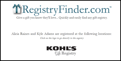 Kohls Wedding Registry Gift Card : ... clicked on the first link, it gave me her registry to Kohls