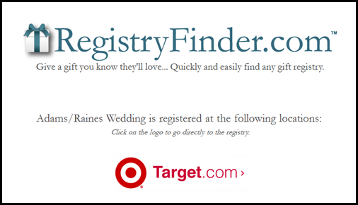 Target register for wedding gifts