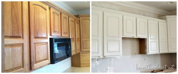 Before and After of Kitchen Cabinets sprayed with Finish Max Sprayer
