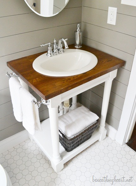 DIY butcher block vanity