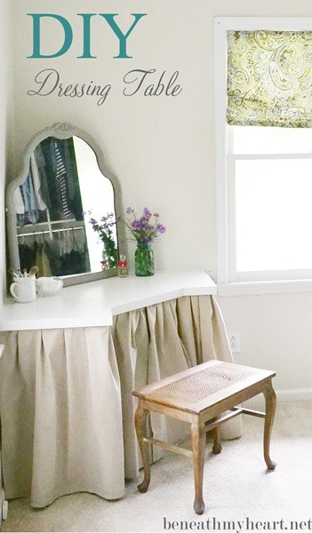Diy dressing table beneath my heart for Skinny dressing table