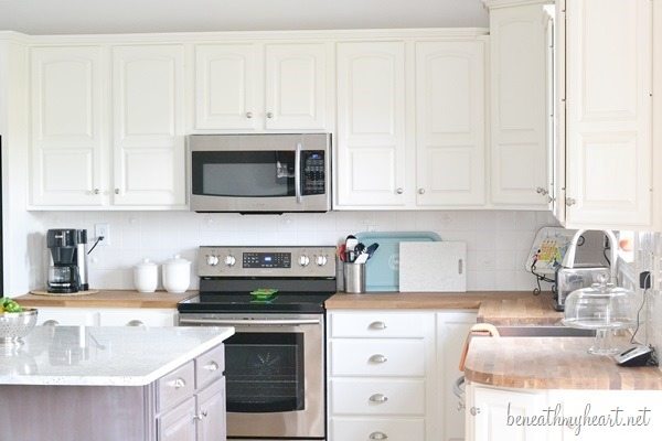 painting oak kitchen cabinets white kitchen makeover reveal beneath my 24521