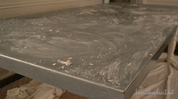 DIY Zinc Top Kitchen Table - Beneath My Heart