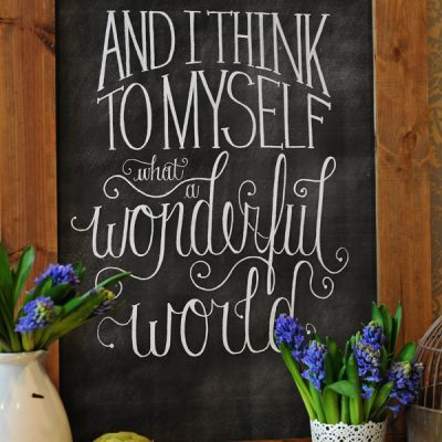 "DIY ""Wonderful World"" Chalkboard Print"