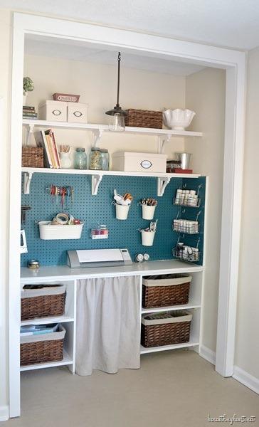 Small Drop Cloth Curtain for my Craft Closet