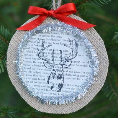 Stamped Deer Burlap Ornament