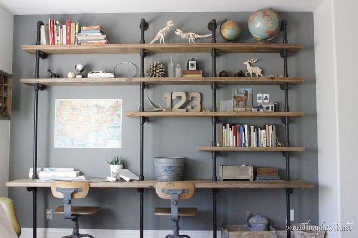 How to build industrial shelves beneath my heart for Diy industrial bookshelf