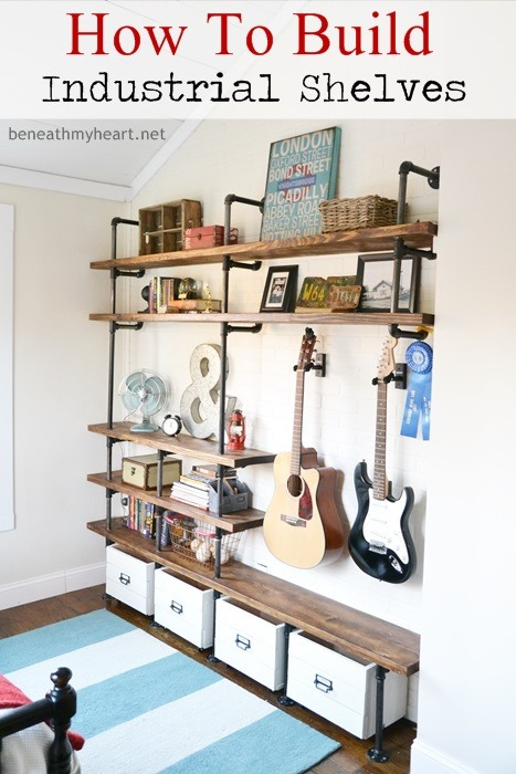 industrial shelves for a boy s room beneath my heart rh beneathmyheart net boys room shelving and ideas for toys Baseball Shelf for Boys Room