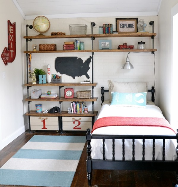 Industrial shelves for a boy s room beneath my heart for Bedroom ideas industrial