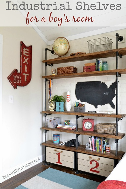 industrial shelves for a boy s room beneath my heart rh beneathmyheart net DIY Shelves for Boys Room Shelves for Boys Car Room