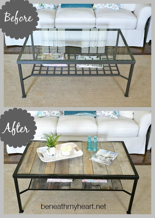Coffee table makeover industrial beneath my heart for Outdoor side tables ikea