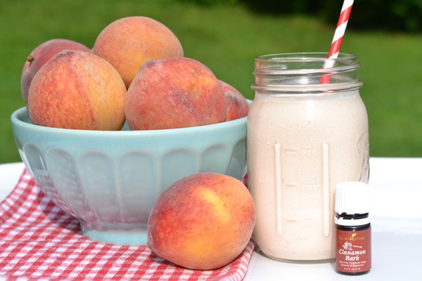 Cinnamon Peach Smoothie {with Essential Oils}