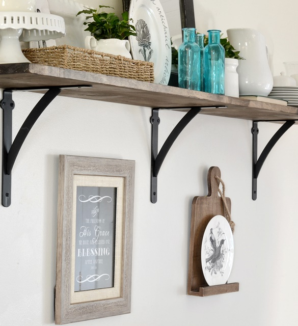Kitchen Shelf Brackets Wood: My New Open Kitchen Shelf (and Roman Numeral Print Coupon