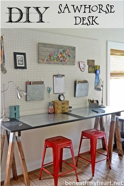 DIY Sawhorse Desk