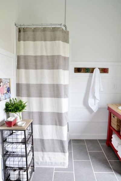 DIY Shower Curtain for Boys' Bathroom - Beneath My Heart