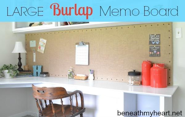burlap memo board