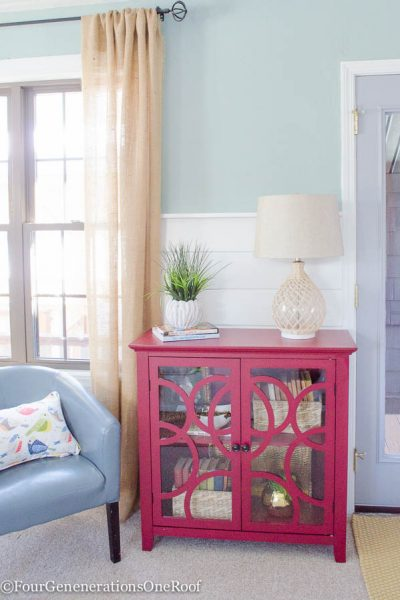 Decorating-a-red-bookcase-Four-Generations-One-Roof-5