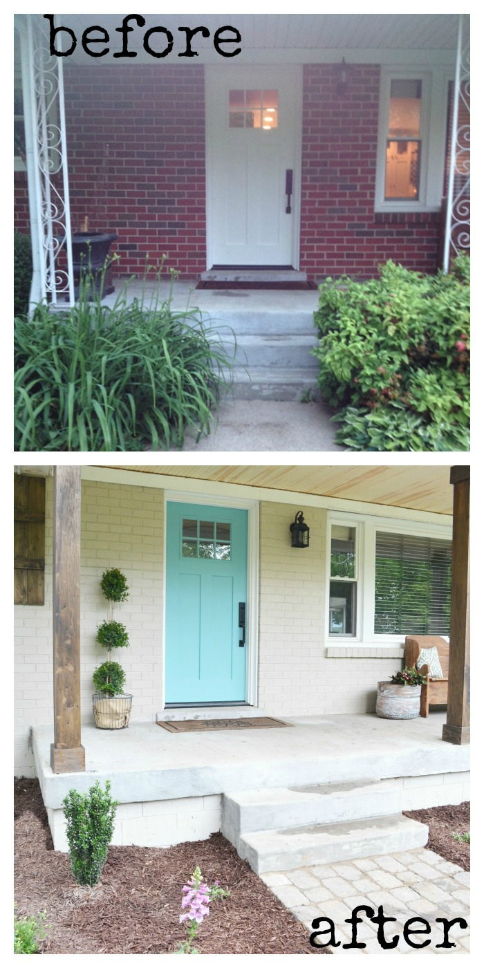 Lowe 39 s home exterior makeover reveal beneath my heart - Red exterior wood paint plan ...